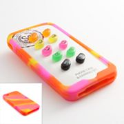 SO Silver Tone Jelly Bean Faces Button Stud Earring and iPhone 4 Case Set