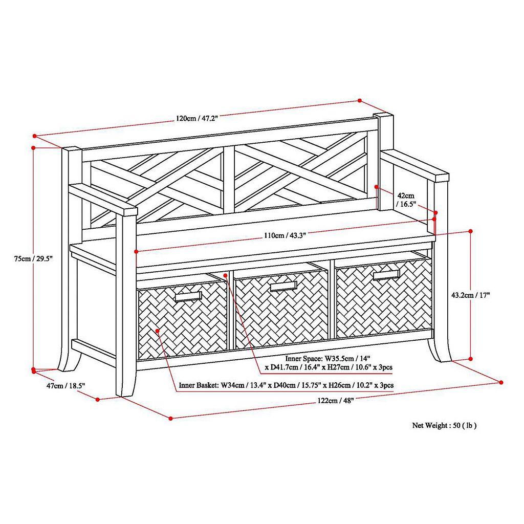 Simpli Home Adrien Entryway Storage Bench