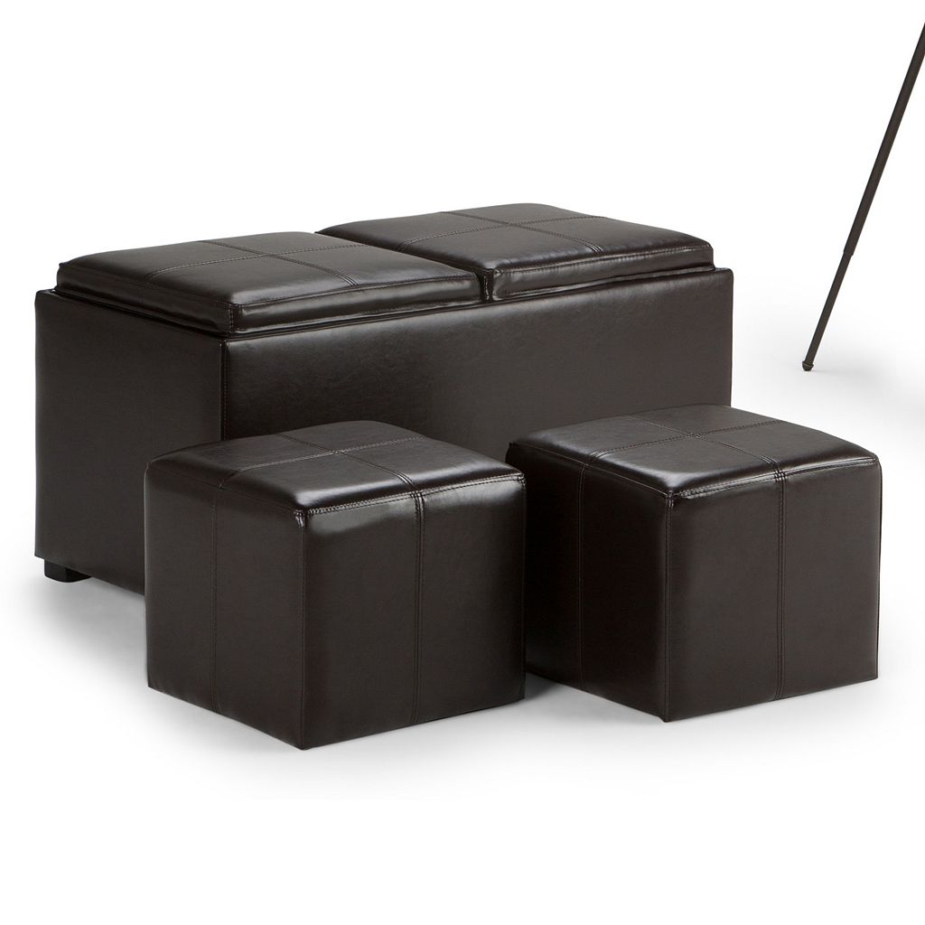 Simpli Home Avalon 3-pc. Storage Ottoman Set