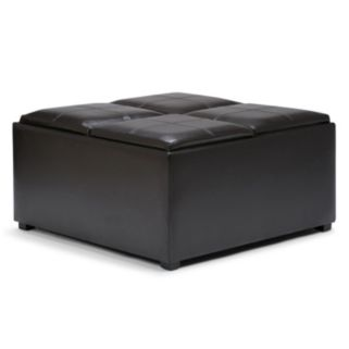 Simpli Home Avalon Storage Tray Ottoman