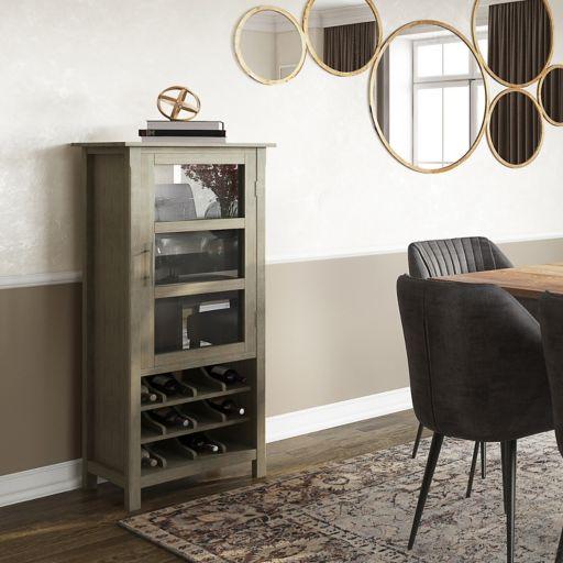 Simpli Home Avalon 12-Bottle Wine Cabinet