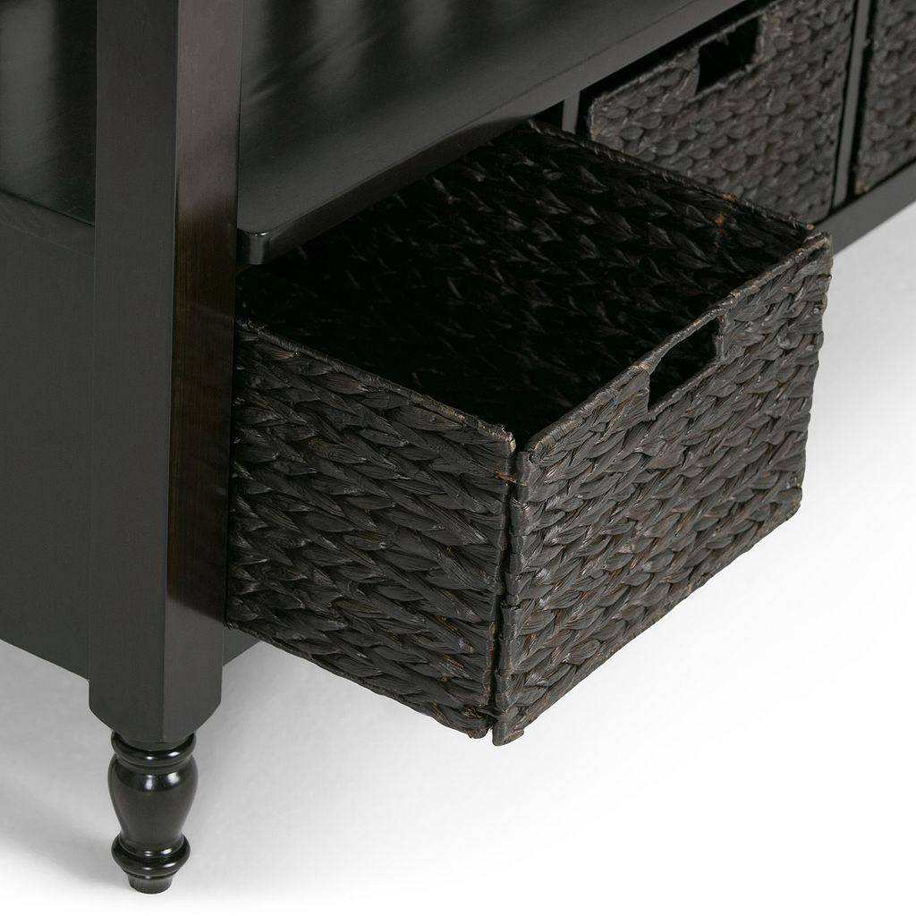 Simpli Home Dakota Basket Entryway Storage Bench
