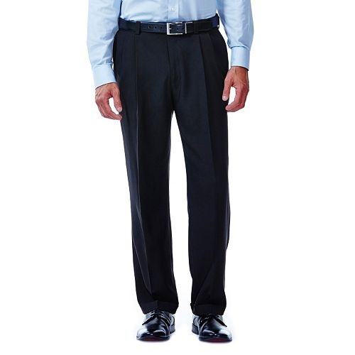Big & Tall Haggar® eCLo™ Stria No-Iron Classic-Fit Comfort Waist Pleated Dress Pants