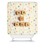 DENY Designs Happee Monkee Mr. and Mrs. Shower Curtain