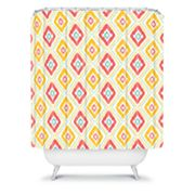 DENY Designs Jacqueline Maldonado Zig Zag Ikat White Shower Curtain