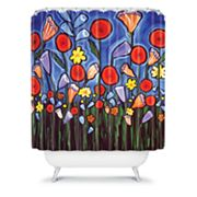 DENY Designs Renie Britenbucher Fun Funky Flowers Shower Curtain