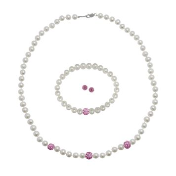 Sterling Silver Freshwater Cultured Pearl Bead Necklace, Stretch Bracelet & Stud Earring Set