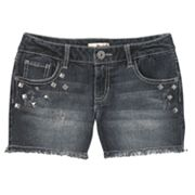 Mudd Stud Frayed Denim Shorts - Girls Plus