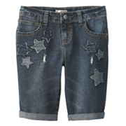Mudd Star Denim Bermuda Shorts - Girls Plus