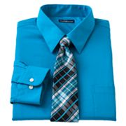 Croft and Barrow Classic-Fit Point-Collar Dress Shirt with Plaid Tie Box Set - Big and Tall