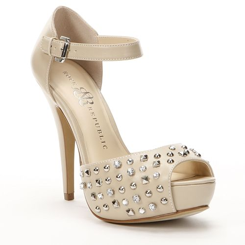 9675bb2561cb Rock   Republic Studded Peep-Toe Platform High Heels - Women