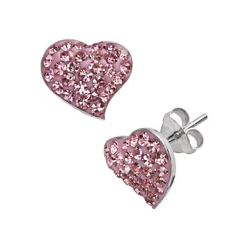 Silver Plate Crystal Heart Stud Earrings