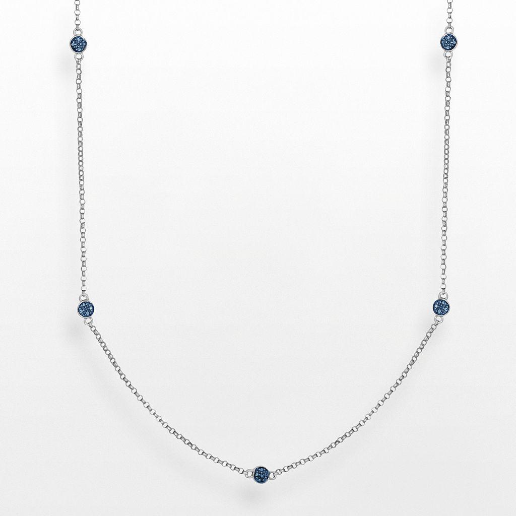 Sliver Plate Blue Diamond Accent Station Necklace
