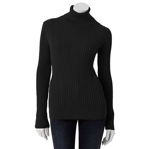 Womens Croft Barrow Cable Knit Turtleneck Sweater