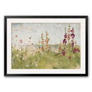 Art.com Hollyhocks By The Sea Framed Art Print by Cheri Blum