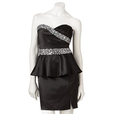 Speechless Rhinestone Peplum Dress - Juniors