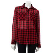 Chaps Plaid Georgette Shirt