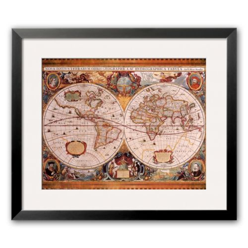 Art.com Antique Map, Geographica, c.1630 Framed Art Print by Henricus Hondius