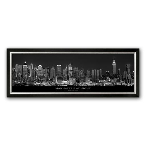Art.com Manhattan at Night, New York City Framed Art Print by Richard Sisk