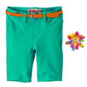 Squeeze Belted French Terry Bermuda Shorts - Girls 4-6x