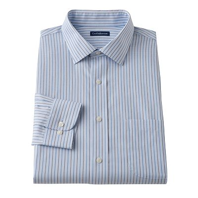 Croft and Barrow Classic-Fit Patterned No Iron Spread-Collar Dress Shirt