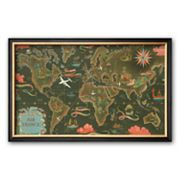 Art.com Air France: Flight Routes and Illustrated World Map, c. 1948 Framed Art Print by Lucien Boucher