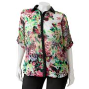 HeartSoul Sheer Floral Button-Front Top - Juniors' Plus