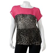HeartSoul Sheer Cheetah Top - Juniors' Plus