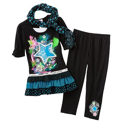 Knitworks Mock-Layer Star Top and Leggings Set - Girls 7-16
