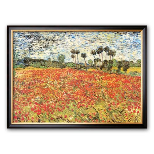 Art.com Field of Poppies, Auvers-Sur-Oise, c.1890 Framed Art Print by Vincent van Gogh