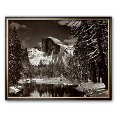 Art.com 'Half Dome, Merced River, Winter' Framed Art Print by Ansel Adams