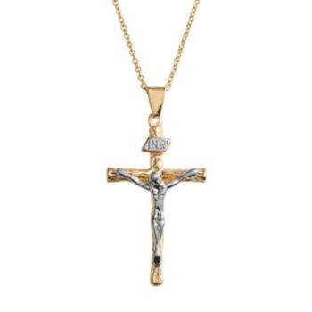 14k Gold Over Silver Plate and Silver Plate Crucifix Pendant
