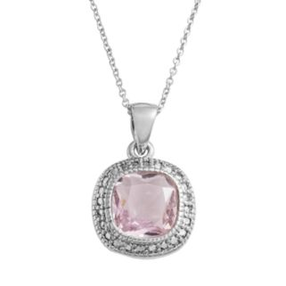 Silver Plate Pink Glass Frame Pendant