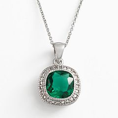 Silver Plate Green Glass Frame Pendant