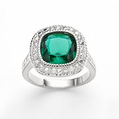 Silver Plate Green Glass Frame Ring