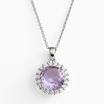 Silver Plate Cubic Zirconia Purple Glass Frame Pendant