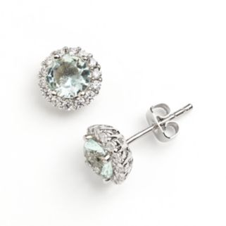 Silver Plate Cubic Zirconia Aqua Glass Halo Stud Earrings