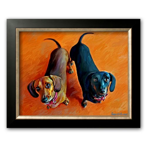 Art.com Double Dachsies Framed Art Print by Robert Mcclintock