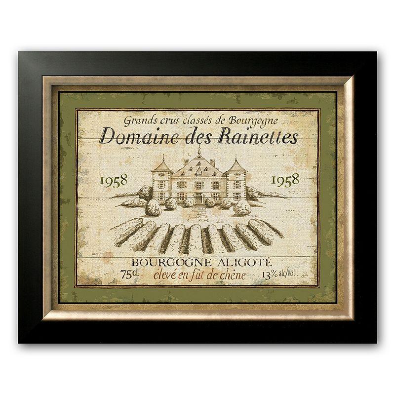 "Art.com ""French Wine Labels Iii"" Black Framed Art Print by Daphne Brissonnet, Brown"