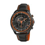 Drive from Citizen Eco-Drive Stainless Steel Black Ion Leather Chronograph Watch - AT2185-06E - Men