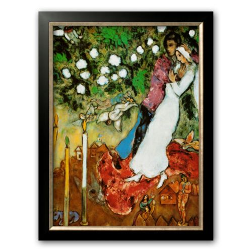Art.com Three Candles Framed Art Print by Marc Chagall