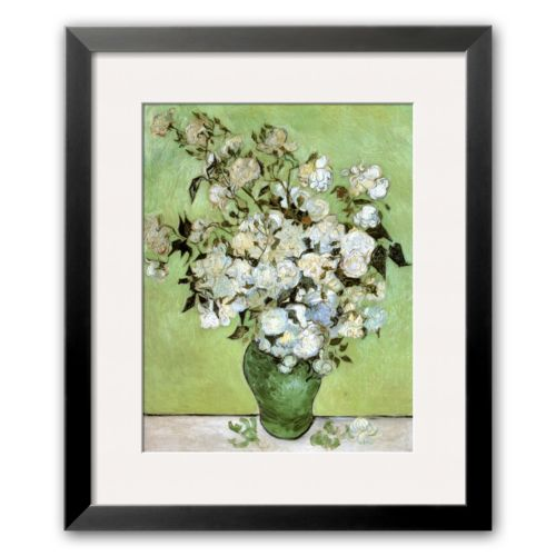 Art.com A Vase of Roses, c.1890 Framed Art Print by Vincent van Gogh
