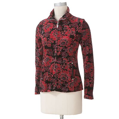 Croft and Barrow Floral Velour Jacket - Petite