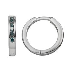 Sterling Silver 1/4 ctT.W. Blue Diamond Hoop Earrings