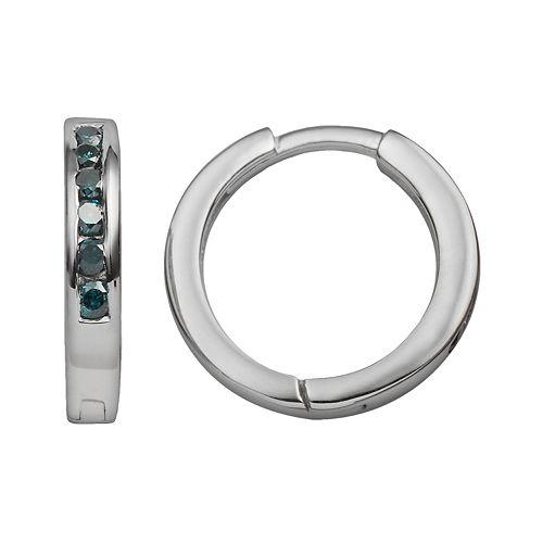 Sterling Silver 1/4-ct. T.W. Blue Diamond Hoop Earrings