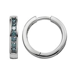 Sterling Silver 1/2 ctT.W. Blue Diamond Hoop Earrings