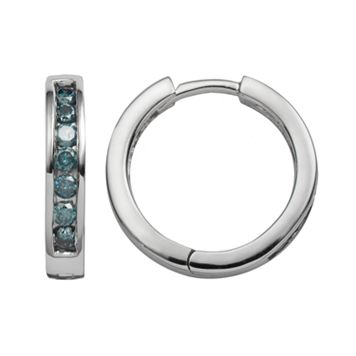 Sterling Silver 1/2-ct. T.W. Blue Diamond Hoop Earrings