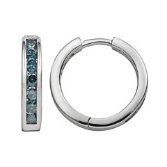 Sterling Silver 1 ctT.W. Blue Diamond Hoop Earrings