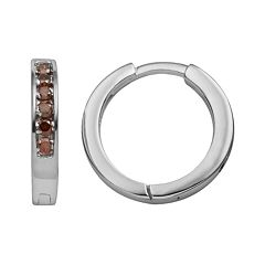 Sterling Silver 1/4 ctT.W. Red Diamond Hoop Earrings