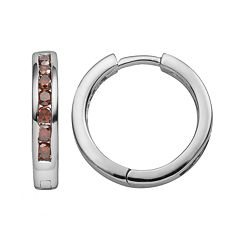 Sterling Silver 1/2 ctT.W. Red Diamond Hoop Earrings